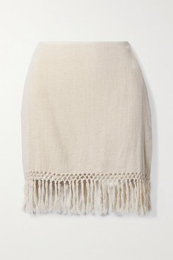 Net Sustain The Jasmine Fringed Macramé Ramie Mini Skirt - Cream