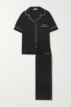 Net Sustain Embroidered Brushed Organic Cotton-jersey Pajama Set - Black