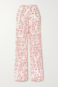 Net Sustain Aprilla Printed Organic Silk Wide-leg Pants - White