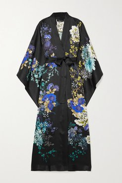 Belted Floral-print Silk-satin Robe - Black