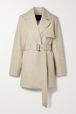 Chasy Belted Wool-twill Coat - Beige