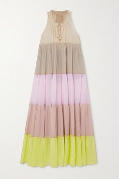 Hippy Tiered Color-block Cotton-voile Maxi Dress - Pink