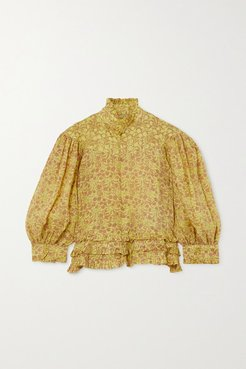 Queen Victoria Ruffled Floral-print Linen Blouse - Lime green
