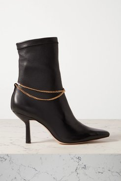 Chain-embellished Leather Ankle Boots - Black