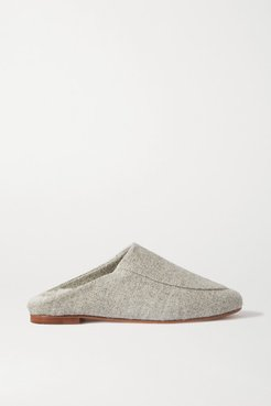 Shearling-lined Felt Slippers - Gray