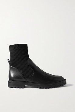 Leather And Ribbed-knit Ankle Boots - Black