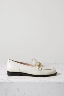 Chain-embellished Leather Loafers - White