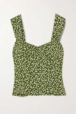 Strada Smocked Polka-dot Crepe Top - Green
