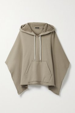 French Cotton-terry Hooded Poncho - Sand