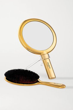 Gold-plated Spa Brush & Hand Mirror Set