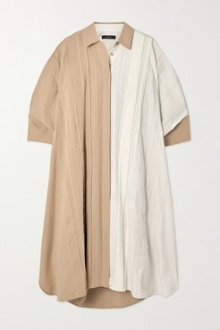 Dany Oversized Color-block Cotton And Linen-blend Shirt Dress - White