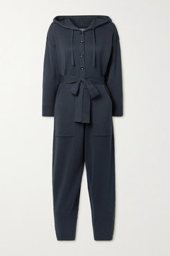 Belted Hooded Cotton Jumpsuit - Midnight blue