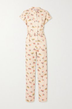 Hadi Belted Floral-print Cotton-twill Jumpsuit - Ivory