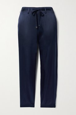 Alex Cropped Silk-blend Charmeuse Tapered Pants - Midnight blue