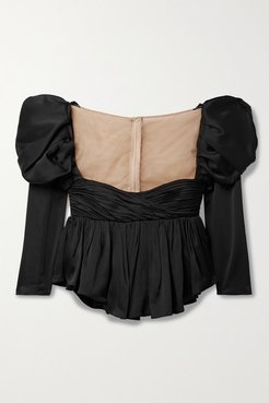 Kim Ruched Satin-crepe And Tulle Top - Black