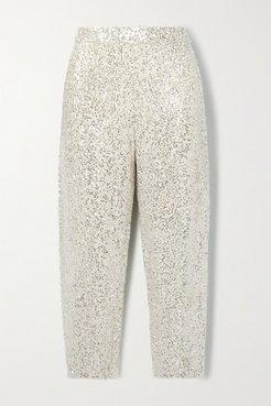 Cropped Sequined Cashmere And Silk-blend Track Pants - Cream