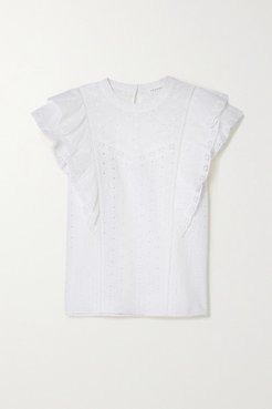 Jie Ruffled Broderie Anglaise Cotton Top - White