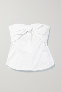 Leia Bow-embellished Cotton-poplin Bustier Top - White