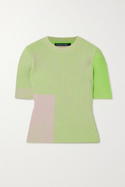 Janis Two-tone Ribbed-knit Top - Green
