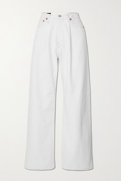 Damon Distressed Mid-rise Wide-leg Jeans - White