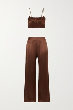 Isra Silk-satin Top And Pants Set - Brown