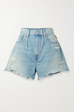 Brooke Distressed Denim Shorts - Light denim