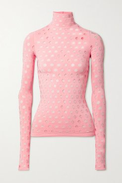 Perforated Stretch-jersey Turtleneck Top - Pink