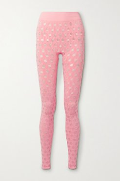 Perforated Stretch-jersey Leggings - Pink
