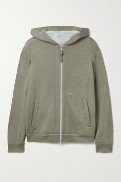 Bead-embellished Cotton-blend Hoodie - Gray green