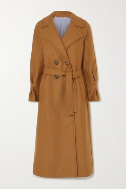 Belted Double-breasted Merino Wool And Cashmere-blend Coat - Camel