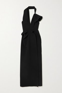 Victoria Draped Cady Halterneck Gown - Black