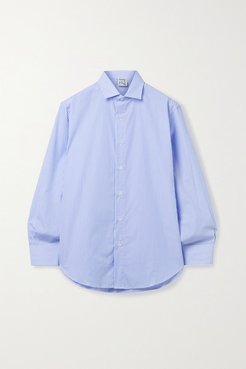 Ole Striped Organic Cotton-poplin Shirt - Light blue