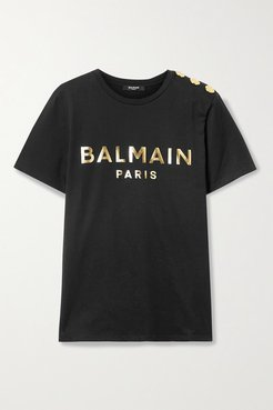 Button-embellished Printed Cotton-jersey T-shirt - Black