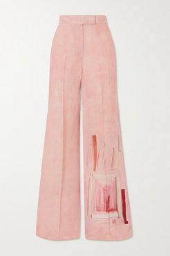 Floretta Printed Wool And Silk-blend Wide-leg Pants - Pink