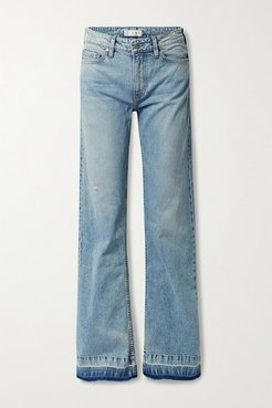 The Mimi Distressed Mid-rise Wide-leg Jeans - Light blue