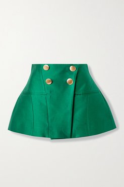 The Janet Cotton And Silk-blend Mini Skirt - Forest green