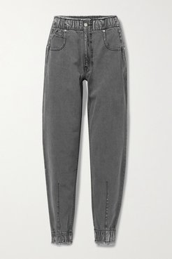 The Romy Distressed High-rise Tapered Jeans - Gray