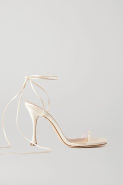 Satin And Pvc Sandals - Off-white