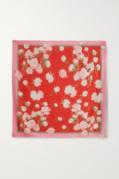 Floral-print Cashmere And Silk-blend Scarf - Red