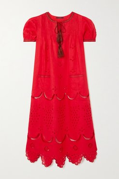 Veronica Tasseled Embroidered Broderie Anglaise Linen Midi Dress