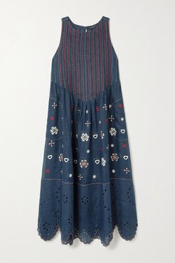 Jackie Embroidered Broderie Anglaise Linen Midi Dress - Navy