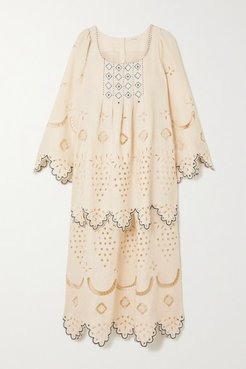 Florence Embroidered Broderie Anglaise Linen Midi Dress - Beige
