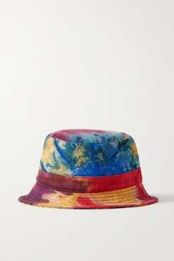 Tie-dyed Cashmere And Silk-blend Bucket Hat - Blue