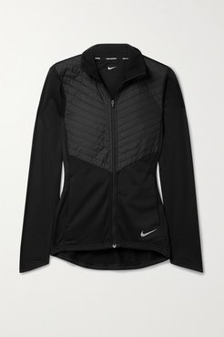 Quilted Shell And Stretch-jersey Jacket - Black