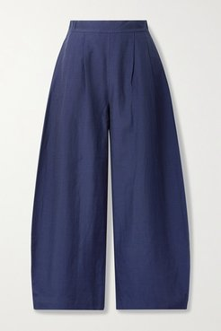 Net Sustain Luca Linen And Silk-blend Wide-leg Pants - Midnight blue