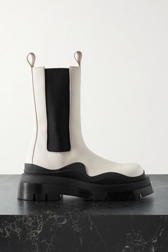 Rubber-trimmed Leather Chelsea Boots - Off-white