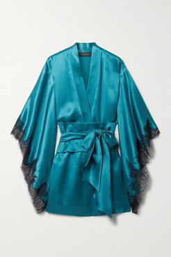 Belted Silk-satin And Chantilly Lace Robe - Teal