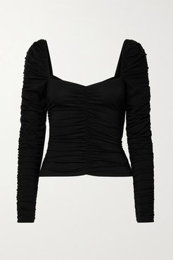 Esra Ruched Stretch-tencel Lyocell Jersey Top - Black