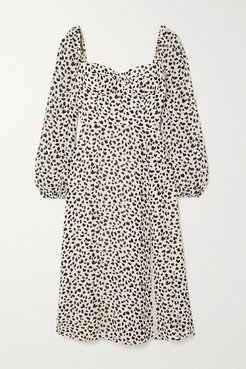 Net Sustain Shelby Animal-print Georgette Midi Dress - Off-white