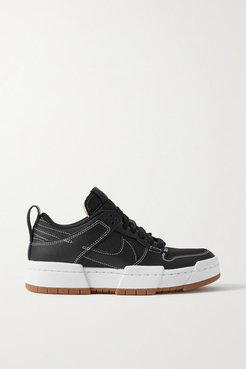 Dunk Low Disrupt Leather And Mesh Sneakers - Black